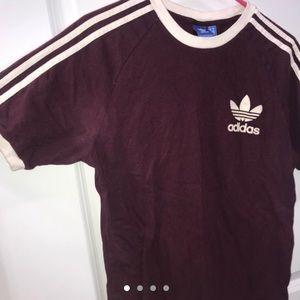 Red Burgundy White Logo Adidas Trefoil Top